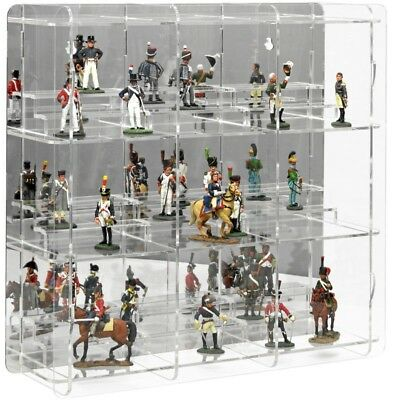 SORA Collectable Figure Display Cabinet with Pedestals, Back-Panel: Reflective