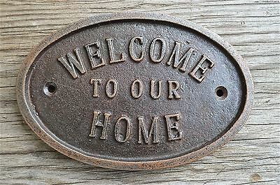 Vintage Style Cast Iron Welcome To Our Home Wall Door Sign Plaque