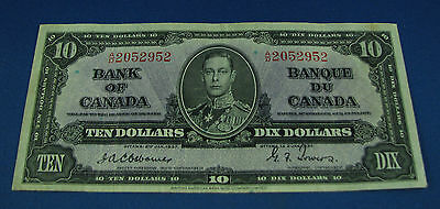 1937 $10 Bank note of Canada Osborne Towers BC-24a VF+