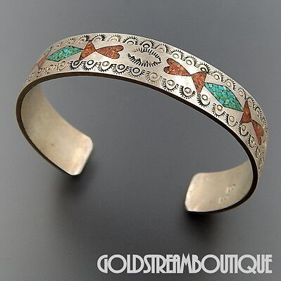 Old Pawn Zuni 925 Silver Turquoise Coral Chip Inlay Ethnic Cuff Bracelet #1942