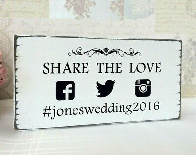 Personalised Social Media Wedding Table Sign Shabby Vintage Chic Free Standing
