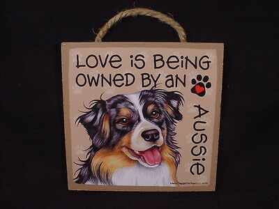 """OWNED BY AN AUSSIE Dog LOVE SIGN Easel Stand 5"""" WALL PLAQUE Australian Shepherd"""