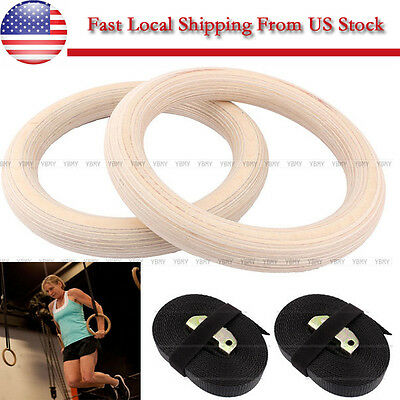 Wooden Exercise Workout Gymnastic Olympic Crossfit Gym Ring Strength Training US