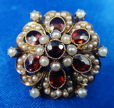 9k Yellow Gold Antique Garnet and Seed Pearls Floral Design Pin Brooch 6.3 Grams