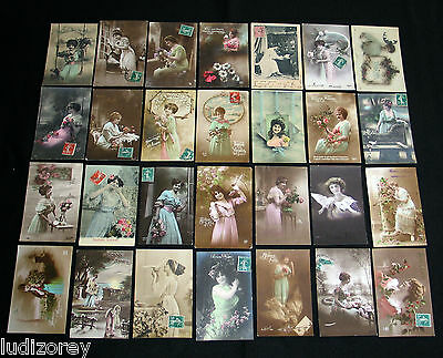Lot B45 : 28 Cpa Femme Charme Miss Pin-Up Lady Mode Elegance Charme Belle Epoque