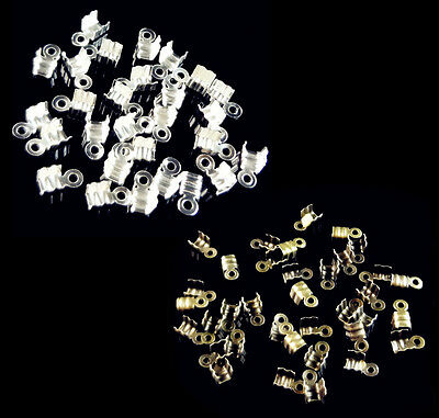 200Pcs Cord End Tip Fold Over Clasp Crimp End Bead Finding 7x4mm
