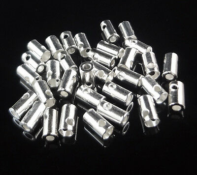 100Pcs Silver Plated Chain Connectors End Beads Finding 7x4mm