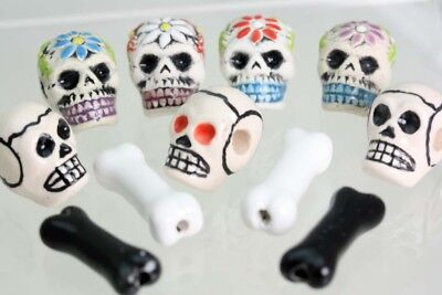Ceramic Skulls & Bones - Peruvian Beads - Hand Painted- Sugar skull beads