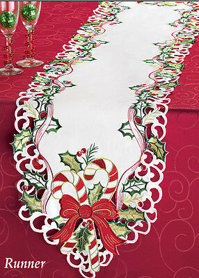 Stunning EMBROIDERED Christmas CANDY CANE HOLIDAY TABLE RUNNER, NEW!
