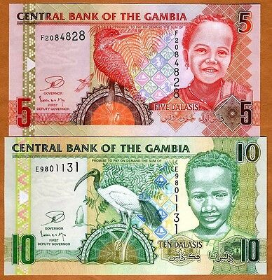SET Gambia, 5 + 10 Dalasis, ND (2006), 2013 Issue, P-25-26-New, UNC