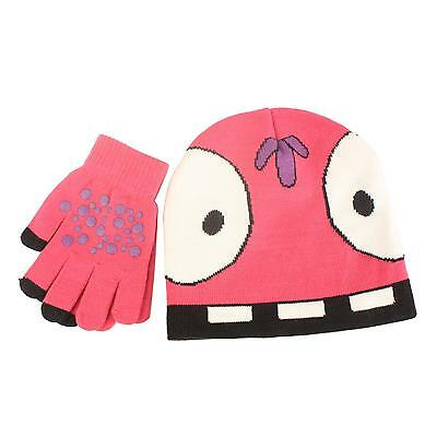 2pc Cute Monster Girls Kids Age 4-7 Knit Beanie Hat Touch screen Gloves Set Pink