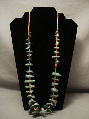 """Very Old Navajo Chunky Green Turquoise """"""""old Coral"""""""" Necklace Vtg"""