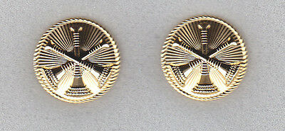 """Fire Chief/Deputy Discs 3 Bugles 15/16"""" Gold Collar Pins/devices #4453G"""