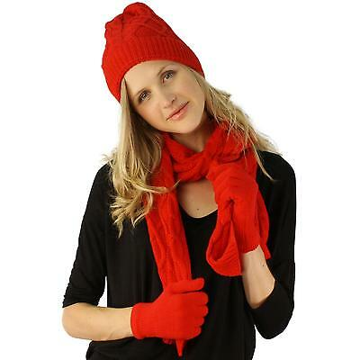 Ladies 3pc Winter Soft Cable Knit Beanie Skull Hat Long Scarf Gloves Set Red