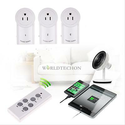 3 Pack Wireless Remote Control AC Power Outlet Plug Light Switch w/ 2 remotes #W