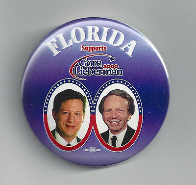 2000 Florida Supports Al Gore & Joe Lieberman campaign button pin hanging chad