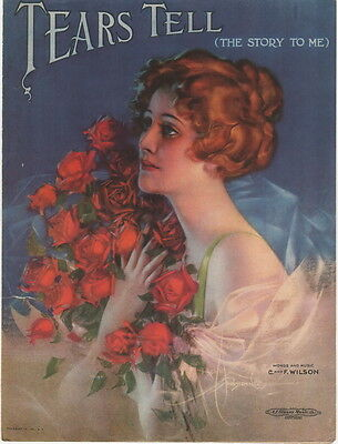 Tears Tell, Rolf Armstrong cover art, Vintage Sheet Music