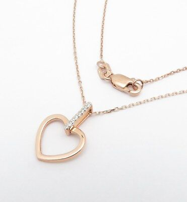 """14K Rose Gold Small Diamond Heart Pendant Necklace 18"""" Chain .02Ct Genuine Real"""
