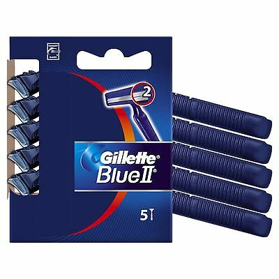 5 Pcs Gillette Blue Ii Plus Cromium Coating Dual Razor Blades Disposable Shaver