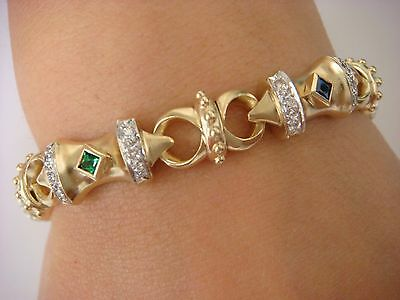 14K Yellow Gold 35.2 Grams, Rubies, Emeralds, Sapphires & Diamonds Bracelet