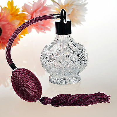 80ml Vintage Empty Crystal Perfume Bottle Purple Long Spray Atomizer Lady Gift
