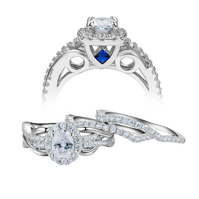 3pcs Oval White Cz Blue Sapphire 925 Sterling Silver Wedding Engagement Ring Set