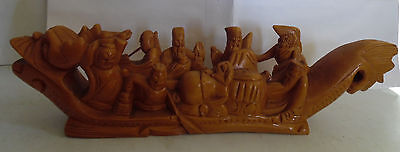 Vintage Beautiful Hand Carved Wood Dragon Boat Ship with Sailors
