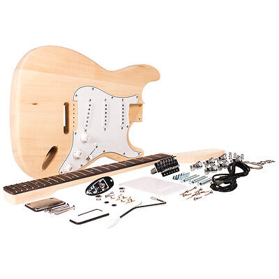 Premium Strat Style DIY Electric Guitar Kit - Unfinished Luthier Project Kit