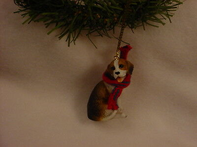 BEAGLE dog HAND PAINTED ORNAMENT Resin Figurine scarf puppy CHRISTMAS hound NEW