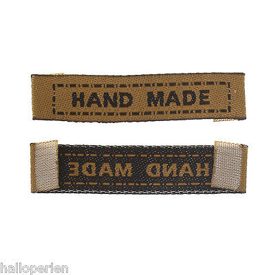 "Terylene Woven Labels Scrapbooking Craft Rectangle Brown "" Hand Made "" 100PCs"