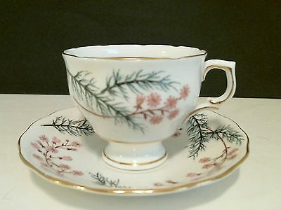Colclough English Bone China Cup & Saucer Pink Flowers Evergreen Branches 1950