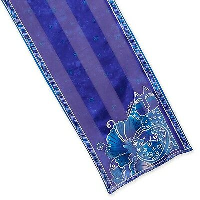 LAUREL BURCH 100% Pure Silk SCARF Wrap Throw BLOSSOMING FELINES Blue Cat Floral