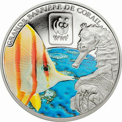 Central African 2015 Great Barrier Reef 100 Francs Coin,Proof