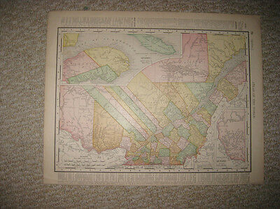 Antique 1895 Quebec Ontario Canada Color Lithographed Map Railroad Detailed Nr