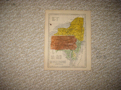Antique 1852 New York Pennsylvania New Jersey Maryland Delaware Handcolored Map