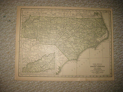 Antique 1928 North Carolina Rand Mcnally Map Outer Banks Wilmington Raleigh Nr