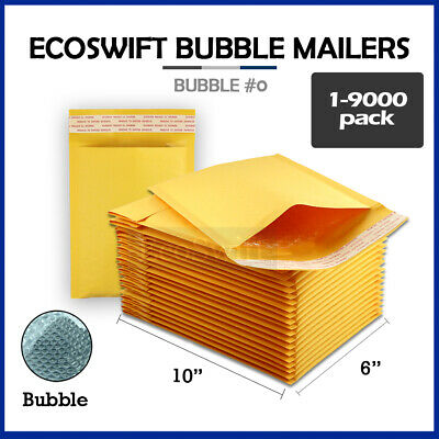 "1-9000 #0 6x10 ""EcoSwift"" Kraft Bubble Mailers Padded Envelope Bags 6"" x 10"""