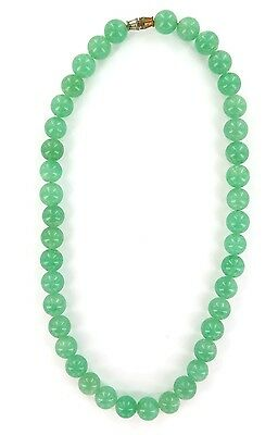 Vintage Celadon Green Jade Nephrite Choker / Necklace. Large 9Mm Beads.