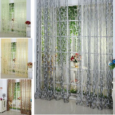 Leaf Floral Tulle Door Window Curtain Drape Panel Sheer Balcony Scarfs Valances