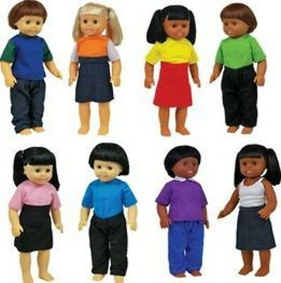 Get Ready Multicultural Dolls, Set of 8 639 Doll NEW