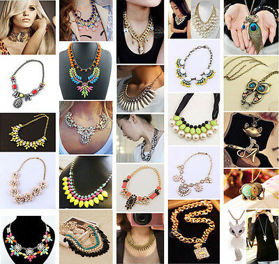 Charm Jewelry Chain Pendant Crystal Choker Chunky Statement Bib Necklace Lot