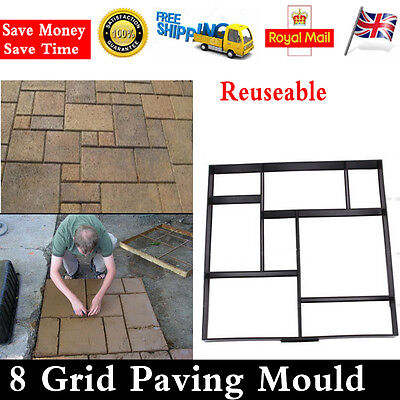 Reusable Driveway Paving Brick Patio Concrete Slabs Path Garden Walk Maker Mould