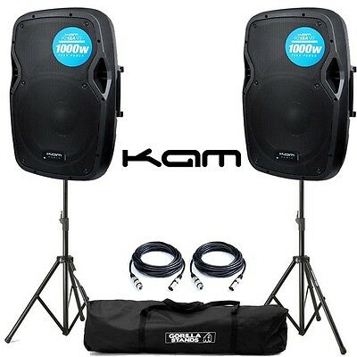 Pair of Kam RZ12A V3 12 Inch 250W RMS Active PA DJ Disco Club Speaker + GSS Kit