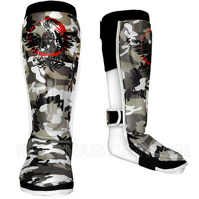Warrior Shin Guards Muay Thai Boxing Full Brown Camouflage Microfiber PU