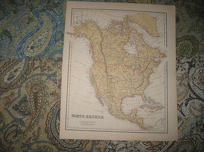 Fine Antique 1870 North America Map United States Canada Mexico Texas California