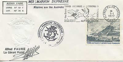 Lettre T.a.a.f. Terres Australes Dufresne / Alfred Faure Crozet 1977