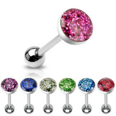 7pcs Phosphor Glitter Epoxy Dome Tongue Rings wholesale tounge barbells (t58)