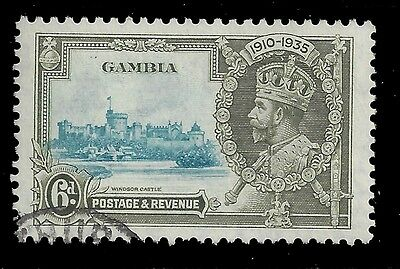 Gambia Stamp 1935 6d Jubilee Two Birds Plate Variety (SG145var) Used