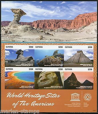 Guyana World Heritage Sites Of The Americas Sheet Imperforated Mint Nh