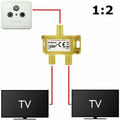 König Profi SAT 2fach F-Splitter Antennen Verteiler Weiche Switch FULL HD TV BK